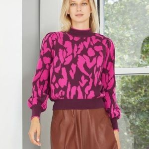 Who What Wear Cotton Knit Pullover Wine Red Small